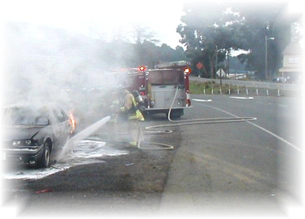 "Not pictured is a Vallejo Police sqad car blocking two (2) lanes of traffic... critical to the SAFETY of this Fire Fighter... good thing ""traffic control"" was available at the time!!"